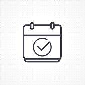 Calendar icon. Vector icon calendar with check mark. Calendar illustration for graphic and website. Calendar icon in flat style. Vector illustration