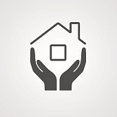 Icon home. The symbol of the company for the construction repair and maintenance of the house. Vector illustration. The image of the hands and the roof of the house.