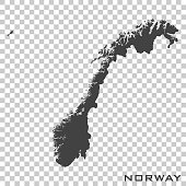 Vector icon map of Norway on transparent background