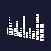 Vector icon of musical equalizer. A musical sound wave.Vector white icon on dark blue background.