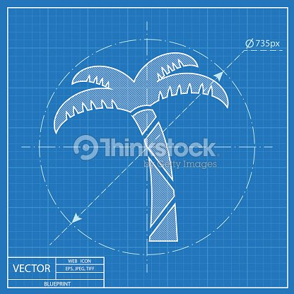 Vector icon of palm tree blueprint style vector art thinkstock blueprint style vector art malvernweather Images