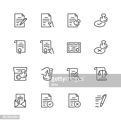 Vector icon set of legal documents in thin line style : stock vector