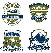 Camping or mountain outdoor adventure icons for mountaineering or hiking sport and extreme nature explorer team club. Vector isolated badges of Alpine rock or mount, camp tent at campfire bowler