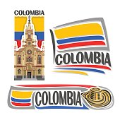 Vector icons for Colombia, 3 isolated images: Jesus Nazareno church in Medellin on background colombian national state flag, symbol of Colombian Republic - hat sombrero vueltiao, flags of colombia cou