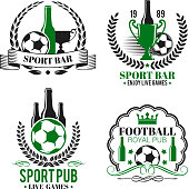 Soccer sport bar or football beer pub icons or badges. Vector isolated beer bottle and soccer ball, victory cup or laurel wreath and crown with stars and ribbon for football championship bar fan club