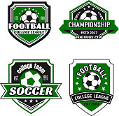 Soccer college league or soccer sport club icon templates. Vector set of football ball, winner cup laurel wreath and stars on green shield badge for soccer championship or football game