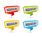 Labels for new arrival, price, or location, in French language. Vector web icons, in paper Origami style, isolated on white.