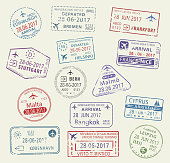 Passport city names stamp set. Edinburgh, Stuttgart and Leipzig in Germany, Bern, Helsinki or Cyprus and Bangkok in Thailand, Malta or Copenhagen and Nice. Travel country arrival vector isolated icons