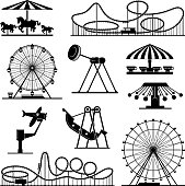 Vector icons of different attractions in amusement park. Attraction icon for carnival and amusement park illustration