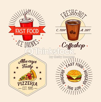 Vector icons of fast food drinks and snacks