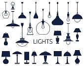 Vector icons of lamps. Flat style vector illustration.