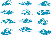 Water waves splashes icons set. Vector isolated ocean or sea wave tide with foam or froth drops, blue water storm ripple flow or wind surf gale swirls and marine streams