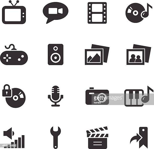 Vector icons relating to multimedia