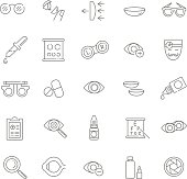 Oculist optometry vision correction eyes health black icons set isolated vector illustration