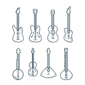 Guitar Line Set. Vector Icons.