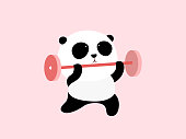Vector Illustration: A cute cartoon giant panda is doing weight lifting