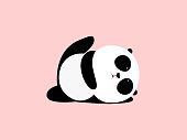 Vector Illustration: A cute cartoon giant panda is doing yoga, lying down and raising one leg