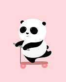 Vector Illustration: A cute cartoon giant panda is on a pink scooter, smiling.