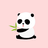 Vector Illustration: A cute cartoon giant panda is sitting on the ground, sticking tongue out, with a branch of bamboo leaves in hand