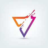 Vector illustration. Abstract colorful triangle. Dynamic splash liquid shape. Background for poster, cover, banner, placard. icon design