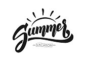 Vector illustration: Brush lettering composition of Summer Vacation isolated on white background.