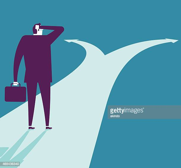 Vector illustration - Businessman At Crossroads Path