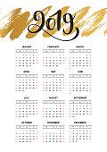 Calendar design concept 2019. Business calendar template. Vector illustration.