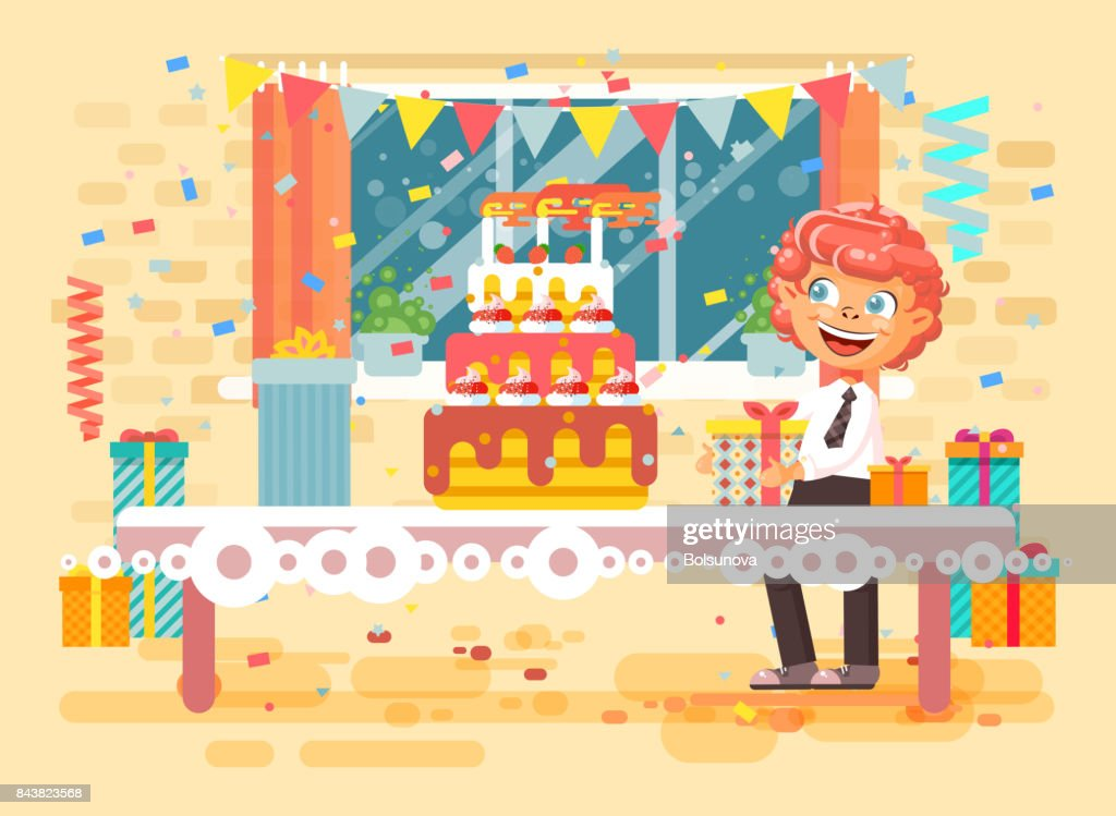 Vector illustration cartoon character child lonely redhead boy