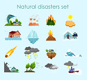 Vector illustration collection of color icons natural disasters on light blue background, set of elements storm, fire and hurricane