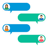Vector illustration concept of online chat. Man and woman icons in flat style on mobile. Chat messaging communication. Flat design, vector illustration
