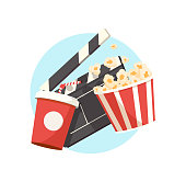 Vector illustration film industry. Popcorn box, water soda, movie clapper