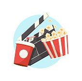 Vector illustration film industry. Popcorn box, water soda, movie clapper