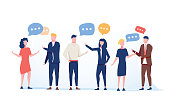 Vector illustration flat style, businessmen discuss social network group of people, news social networks, meeting chat, dialogue speech bubbles. Flat vector illustration. Business coworking conference