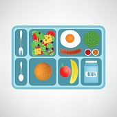 Vector illustration. Flat style. School lunch. Healthy food for students. Green peas. Omelet. Small packaging milk. Sesame bun. Banana Sausage