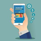 vector illustration for money transaction, technology, business, mobile banking and mobile payment