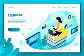 Vector concept illustration -  freelancer girl with notebook, easely working at home. Modern bright banner, site template with place for your text.