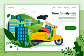 Vector illustration - girl riding on motorbike. Park, city, trees and hills on background. Banner, site, poster template with place for your text.