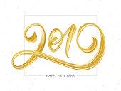 Vector illustration: Handwritten brush stroke golden acrylic paint lettering of 2019. Happy New Year