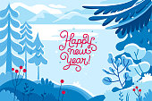 Vector illustration in trendy flat  style - background with copy space for text - winter landscape - background for banner, greeting card, poster and advertising - happy new year and Christmas holiday