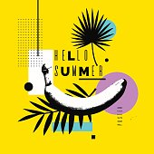 Hello summer. Bright poster with a banana on an abstract background with palm leaves and geometric shapes. Vector illustration