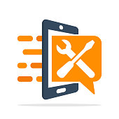 Vector illustration icon with a communication concept for the setting and repair information with the mobile app