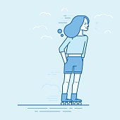 Vector illustration in flat linear style and blue colors - happy girl roller skating