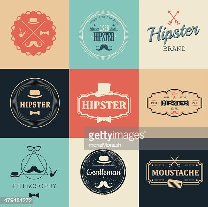 illustration vectorielle DE Hipster style. Logo ensemble. : clipart vectoriel