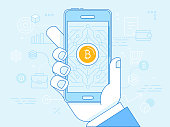 Vector illustration in line flat style and blue colors - bitcoin and crypto currency concept - hand holding mobile phone and mining digital money app on the screen -  virtual payment system infographi