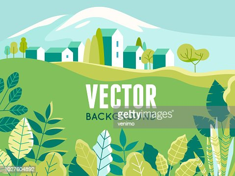 Vector illustration in simple minimal geometric flat style - village landscape with buildings, hills, flowers and trees : stock vector
