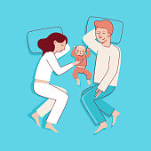 Vector illustration in trendy flat linear style - happy family and parenthood concept - happy mother and father with a baby seeping  - cartoon characters for infographics, banners, cover and hero imag