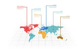 Vector illustration infographic of the World map with continents highlighted by different colors and labels