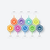 Vector illustration infographics 9 options. Data and information visualization. Dynamic infographics stylish geometric. element for design business invitations, gift cards, flyers and brochures
