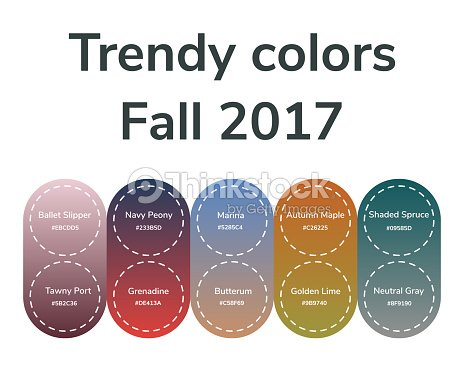 Vector Ilration Infographics Trendy Colors Of The 2017 Fall Grenadine Tawny Port