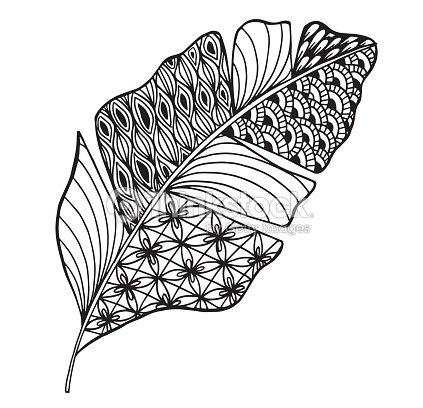 Vector Ilustración Hojas Y Doodle En Estilo Floral Ornamentado ...